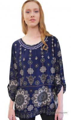 Noma Ladies Curvy Size Bohemian Blouse Navy TooMi Clothing Tops