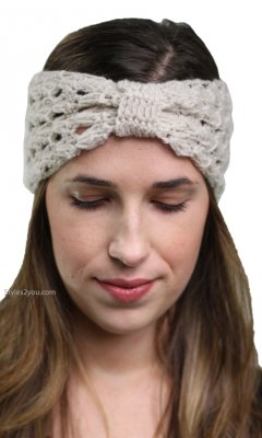 Crochet Headband Turban With Knot In Natural