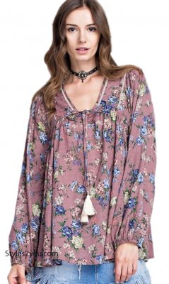 Albany Ladies Oversized Long Sleeve Peasant Top Mauve Easel Tops