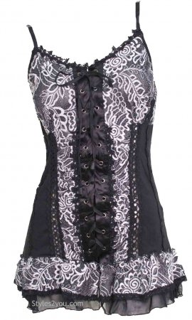 Archer Gypsy Boho Victorian Lace Up Camisole Top Black & White