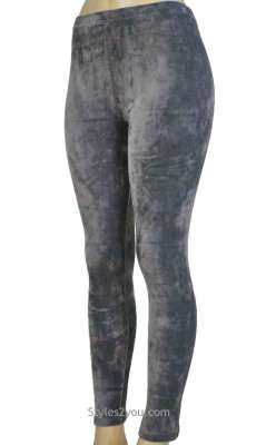 Regina Crushed Velvet Legging In Gray