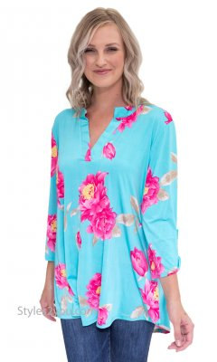 Fergie PLUS SIZE High Quality Stretch 3/4 Sleeve Blouse In Blue