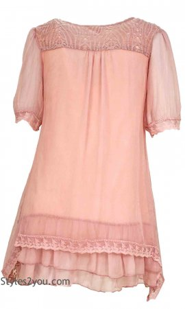 Charlotte Ladies Modern Vintage Tunic Mauve My Pretty Angel Tops