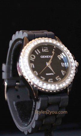 Geneva Silicone Big Face Rhinestone Watch In Black