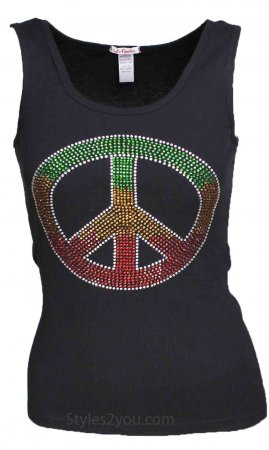Crystal Peace Sign Tank Top In Black