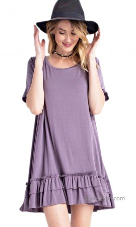 Sailer PLUS SIZE Ruffle Shirt Dress Shirt Extender Purple Easel
