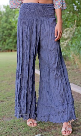 Nevada Wide Leg Cotton Pants With Crochet Trim In Blue Sacred