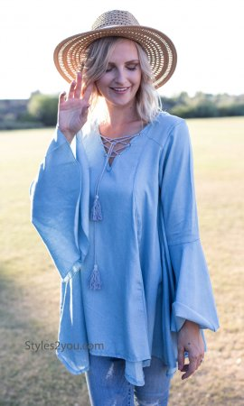 Annabell Lace Up Bell Sleeve & Crochet Back Bohemian Top