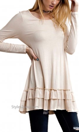 Celian Double Ruffle Tunic OR Layering Top In Tan Easel Dresses