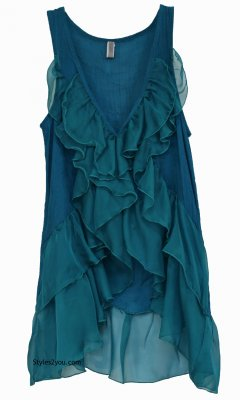 Virgie Victorian Button Down Ruffle Vest In Turquoise