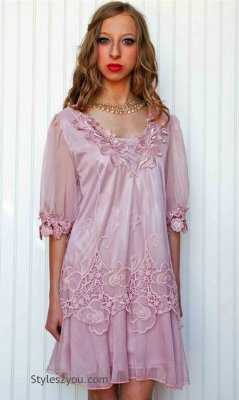 Bethany Victorian Garden Flower Tunic Mauve Pretty Angel Dresses