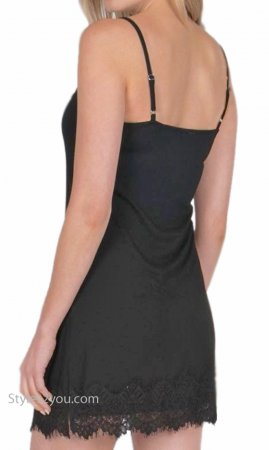 Renton Shirt Extender Slip Dress Cami With Eyelash Trim Black