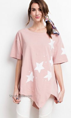 Free The Stars Relaxed Fit Short Sleeve Top In Vintage Rose