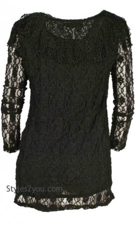 Tanya Ladies Crochet Blouse With Hand Sewn Beads In Black