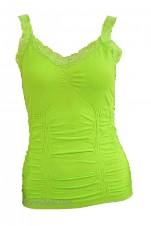 Styles2you Clothing Corset & Lace Undershirt In Lime