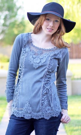 Cholera Vintage Victorian Lace Up Blouse In Gray Pretty Angel