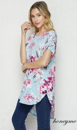 Praise Ladies Boho Floral Top In Aqua
