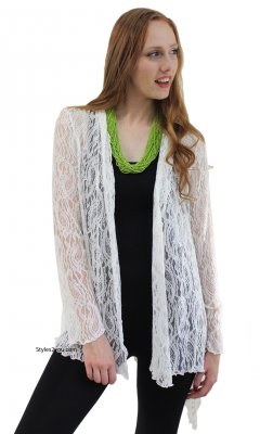 Maya Victorian Modern Vintage Lace Cardigan In Ivory