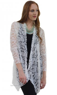 Harmony Vintage Lace Open Cardigan In Cream