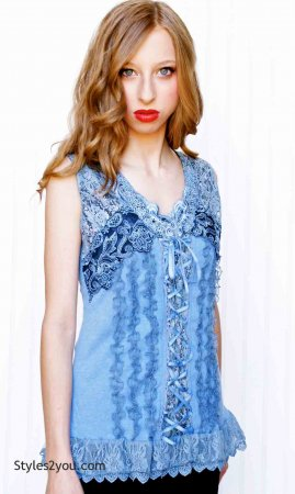 Mercer Women's Vintage Corset Top In Blue