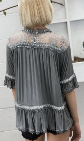Gilmore 1/2 Sleeve Vintage Victorian Blouse In Charcoal