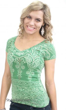 Henna Top With Rhinestones In Green