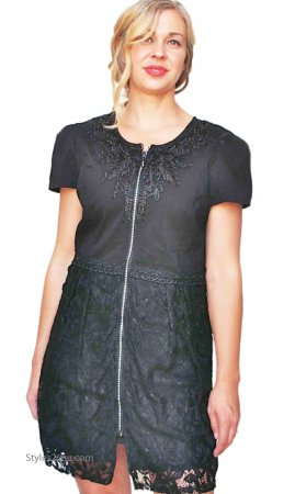 Monet Ladies Zippered Shirt Dress Duster With Lace In Black