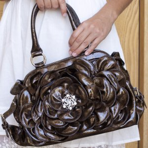 Women's Brown Flower Handbag