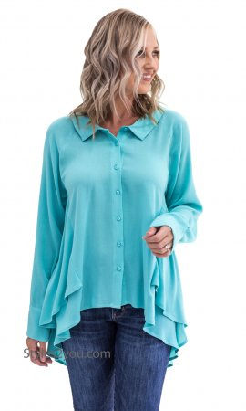 Ashbury Long Sleeve Layered Hi-Lo Hem All Season Blouse In Mint
