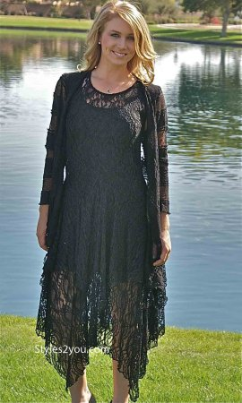 Abigail Layered All Lace Dress With Slip In Black Verducci Dress