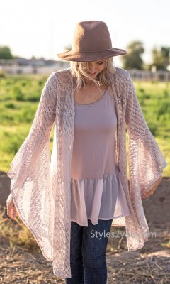 Edna Ladies Bell Sleeve Crochet Bohemian Hippy Cardigan Natural