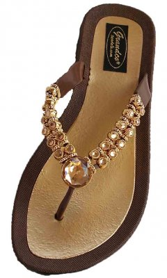 Grandco Sandal Brown With Clear Crystal And Gold Trim Sandal
