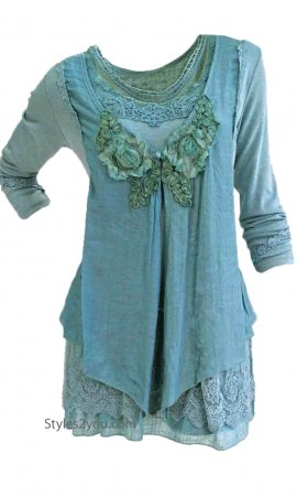 Madonna Layered Victorian Vintage Blouse Aqua Pretty Angel Tunic