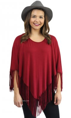 Elysia Fringe Top With Sleeves In Burgundy