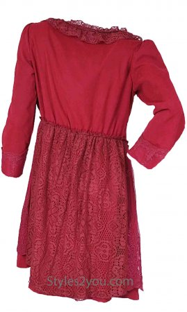 Evelyn Top Cardigan Dress In Red