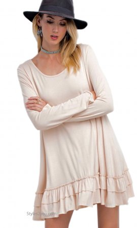 Celian PLUS SIZE Double Ruffle Tunic OR Extender Tan