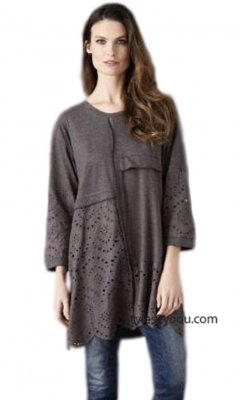 Emerald Long Sleeve Embroidered Eyelet Tunic Dress in Gray 2nd