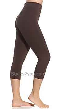 Lysse Leggings Tummy Control Ladies Basic Capri Legging In Brown