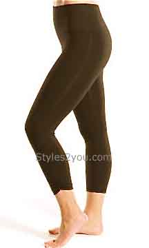 Tummy Control Ruched Cropped Legging In Brown