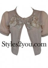 Jackie Ladies Short Sleeve Little Bolero In Brown