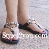 Grandco Sandals Rhinestone Thong Sandals In Black