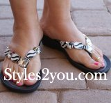 Grandco Sandals Rhinestone Zebra Beaded Thongs In Black
