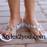 Grandco Sandals Rhinestone Zebra Beaded Thongs In White