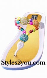 Grandco Sandals Triangular Strap Round Beaded White Sandal