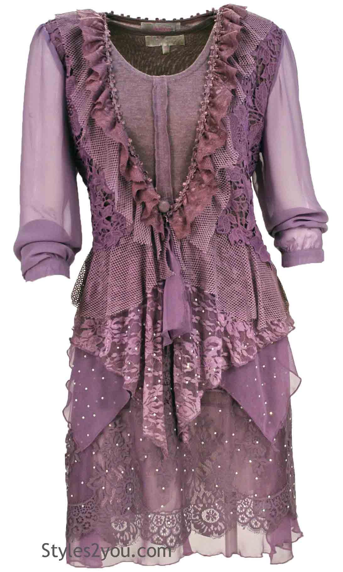 Laverne Victorian Lace Blouse Bolero Cardigan Mauve Pretty