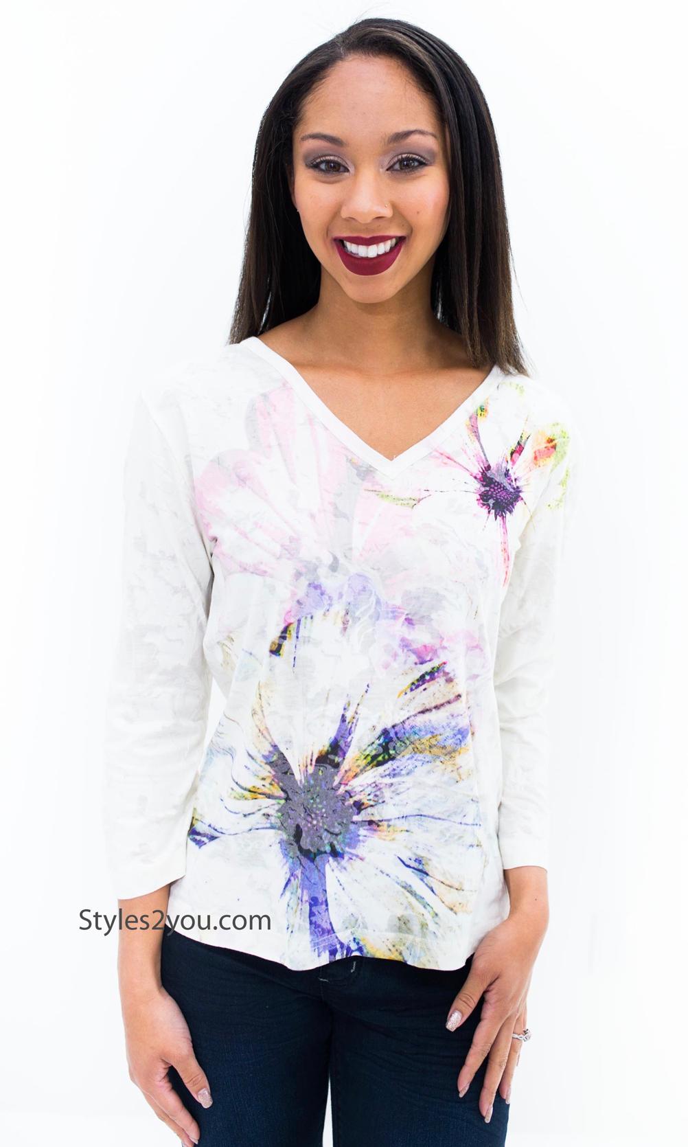 Mona 3 4 Sleeve V Neck Burnout Tye Dye Top With Vintage