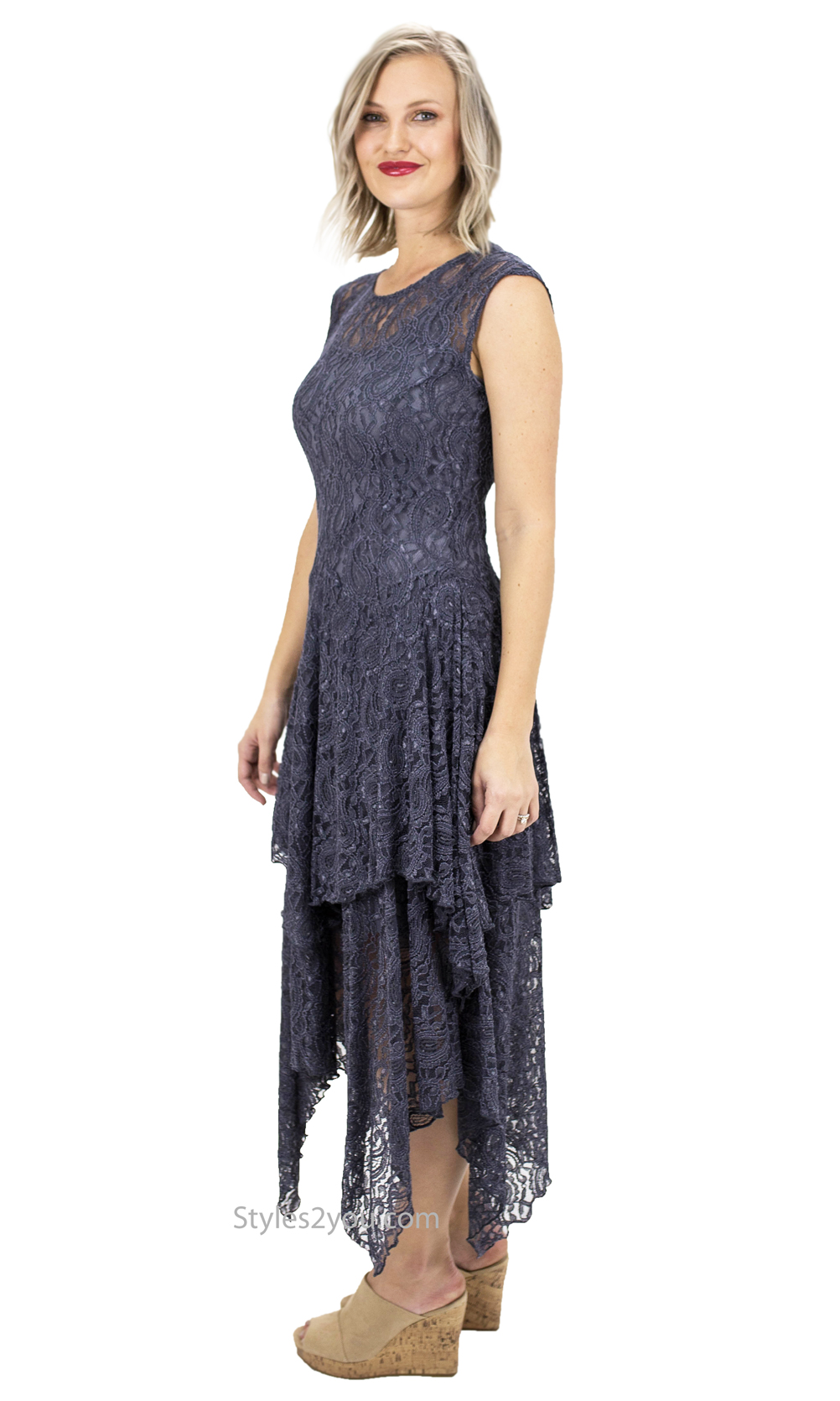 Abigail Layered All Lace Dress With Slip In Gray Verducci Dress ...