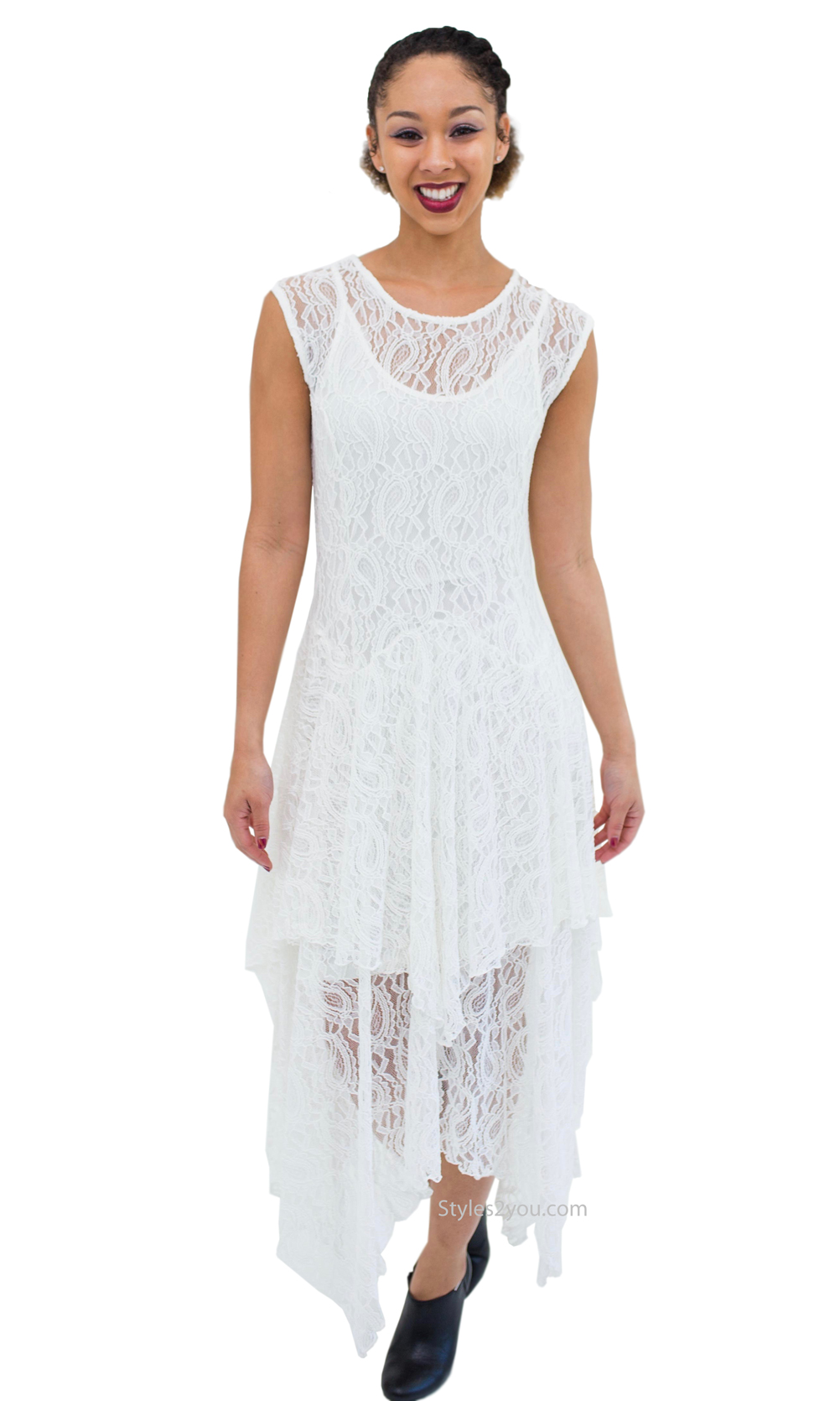 Abigail Layered All Lace Dress With Slip In Ivory Verducci Dress ...