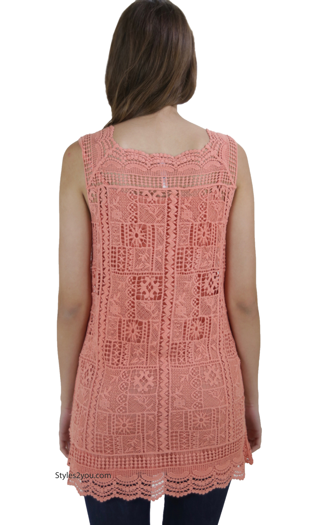 Malta Two Piece Sleeveless Crochet Amp Lace Shirt Dress In