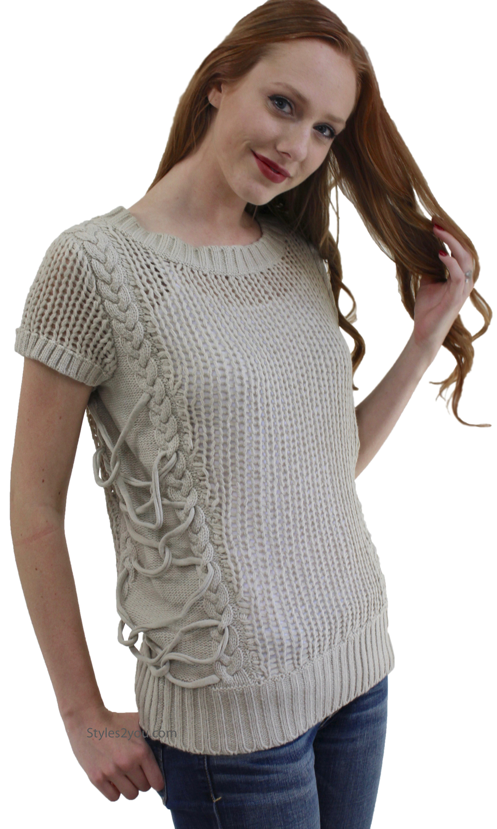 Jackie Unique Ladies Sweater Top In Taupe Wow Couture